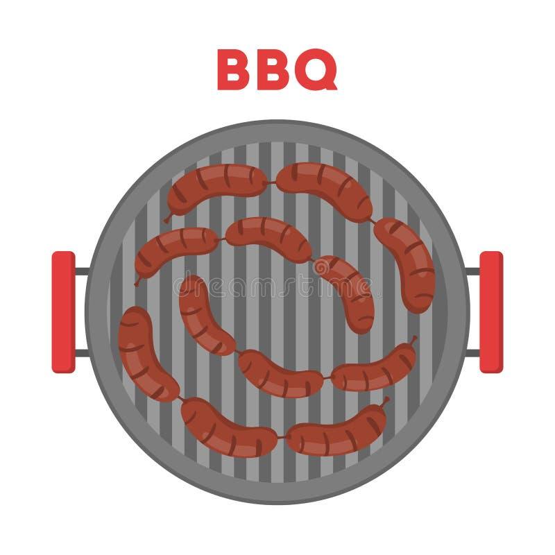 Salchicha en el girll del Bbq Cocinando la comida la barbacoa ilustración del vector