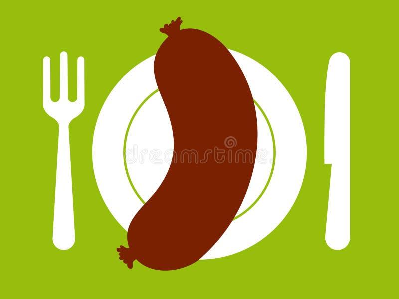 Salchicha en la placa con la fork y el cuchillo stock de ilustración