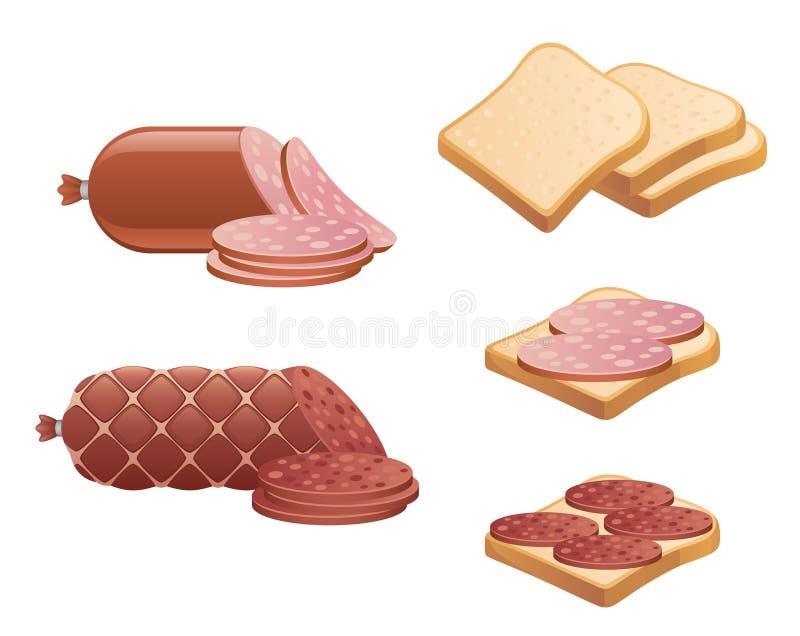 Salchicha y pan stock de ilustración