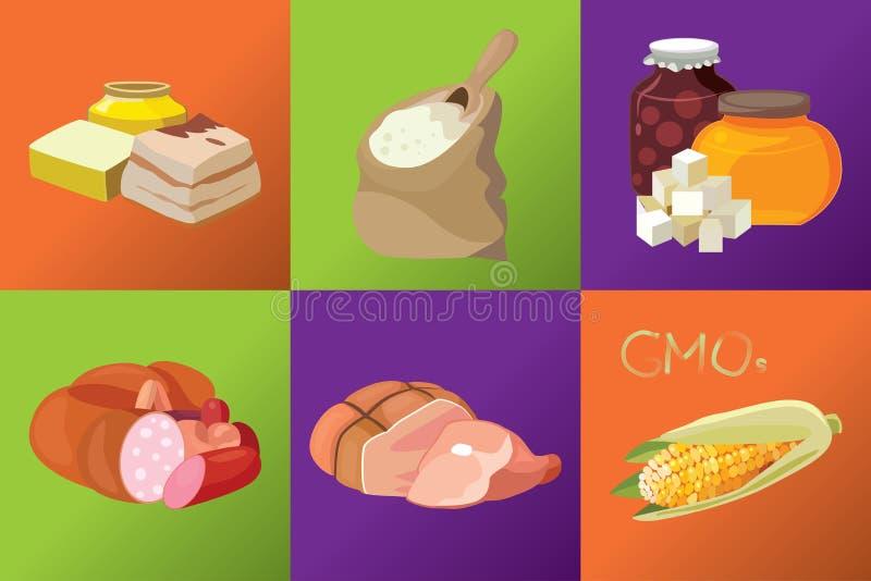 Salchichas, carnes ahumadas, carbohidratos simples, grasas refractarias, G stock de ilustración