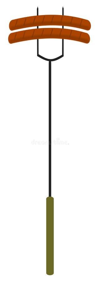 Salchichas en una fork ilustración del vector