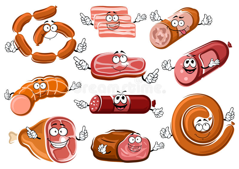 Salchichas, tocino, filete y rosbif de la historieta stock de ilustración