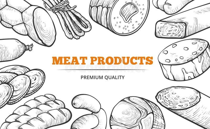 Salchichas y línea de productos naturales de carne bandera del arte libre illustration