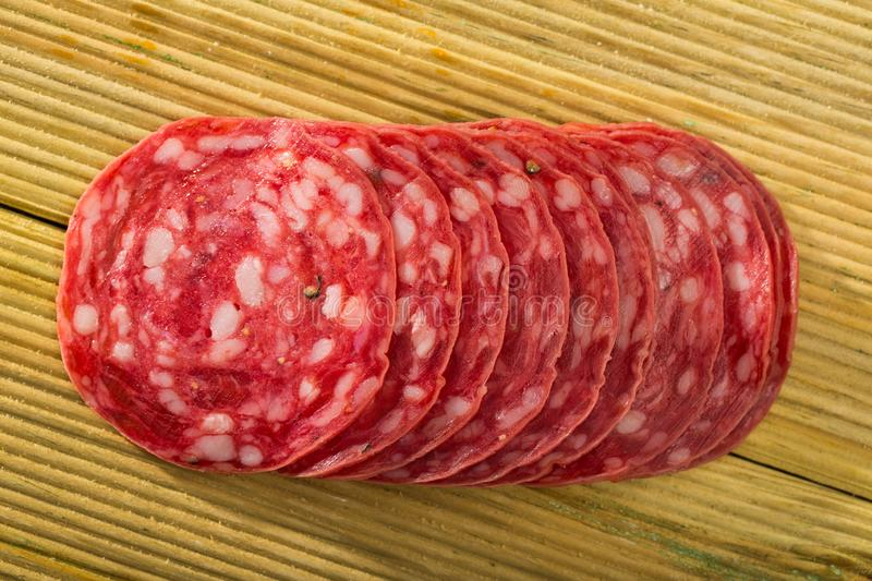 Salchichon sausage slices royalty free stock images