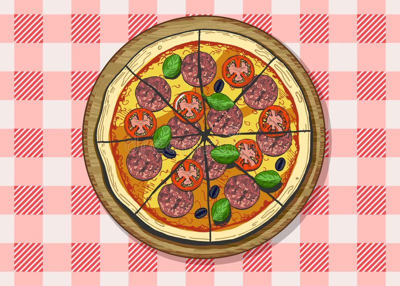 Salchichones o pizza cortados del salami libre illustration