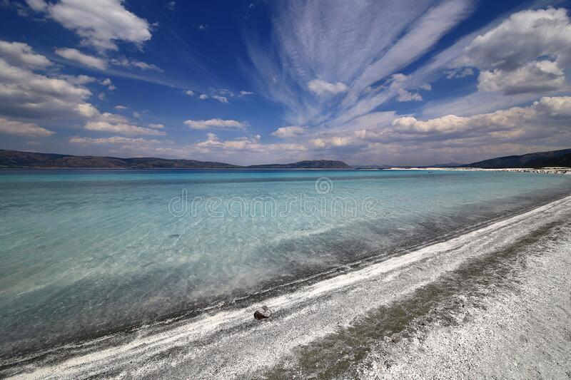 Salda lake is knows as Maldives of Turkey. Lake Salda is one of Turkey`s deepest, clearest and cleanest tectonic lakes. Salda lake is knows as Maldives of Turkey royalty free stock photo