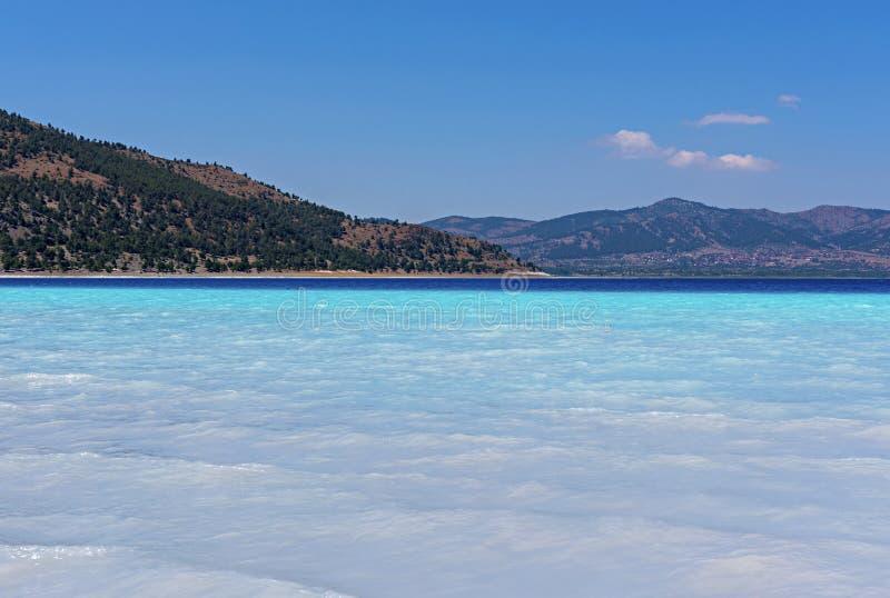 Salda Lake is a mid-size crater lake in Burdur. Salda Golu in Tu royalty free stock photo