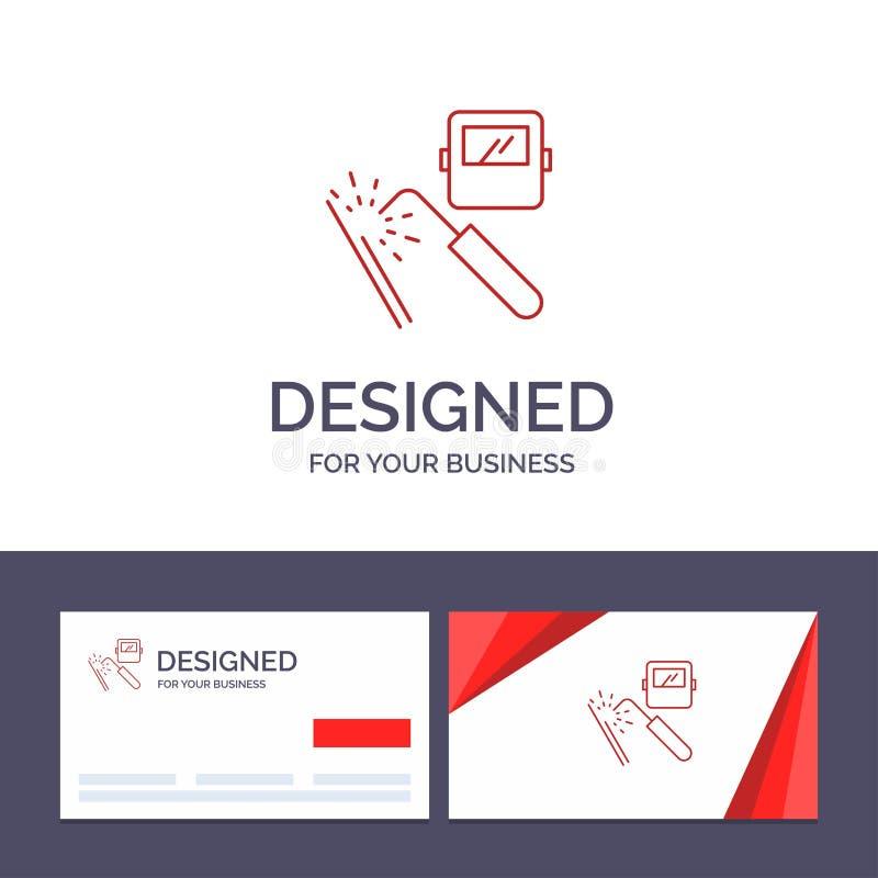 Saldatura del modello creativo di logo e del biglietto da visita, macchina, maschera, fabbrica, illustrazione di vettore di indus illustrazione di stock