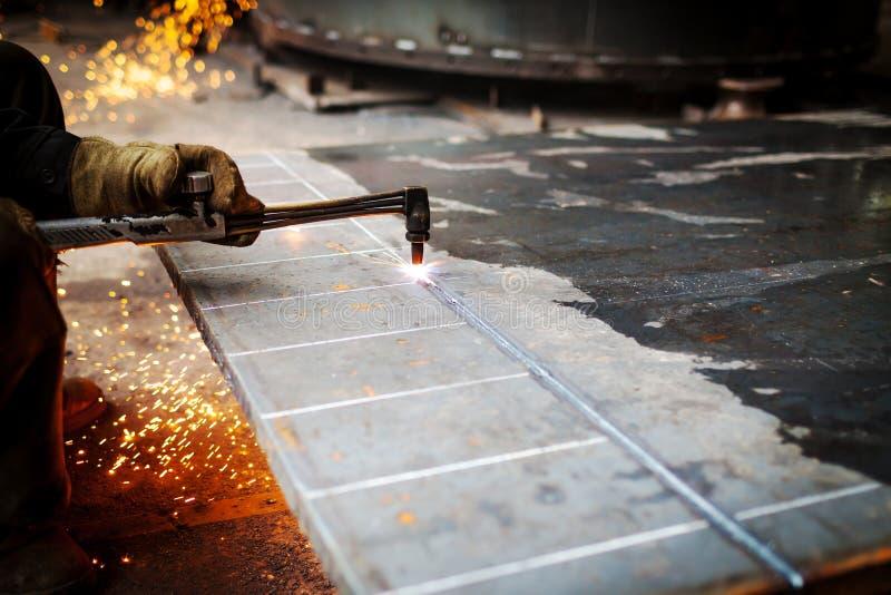 Saldatura a gas per il taglio di metalli fotografia stock