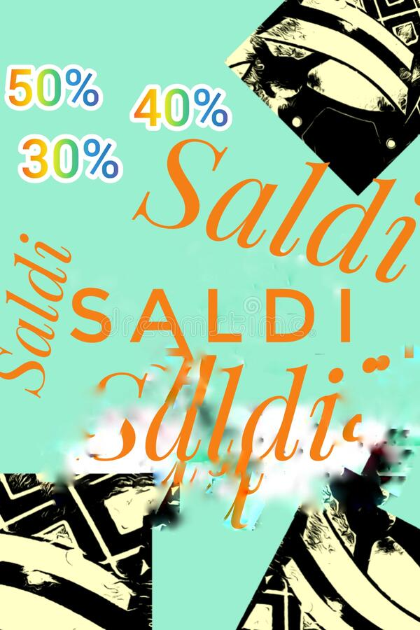 Saldi  50% 40% 30% on a modern turquoise blue background  with art design stock images