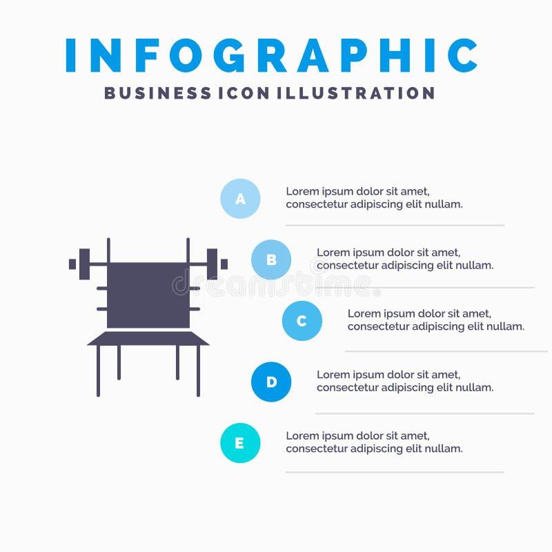 Saldo, Domoor, Geschiktheid, Gymnastiek, Machine Stevig Pictogram Infographics 5 de Achtergrond van de Stappenpresentatie vector illustratie
