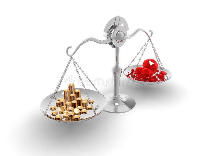 Saldo gemunt goud en de gemmen stock illustratie