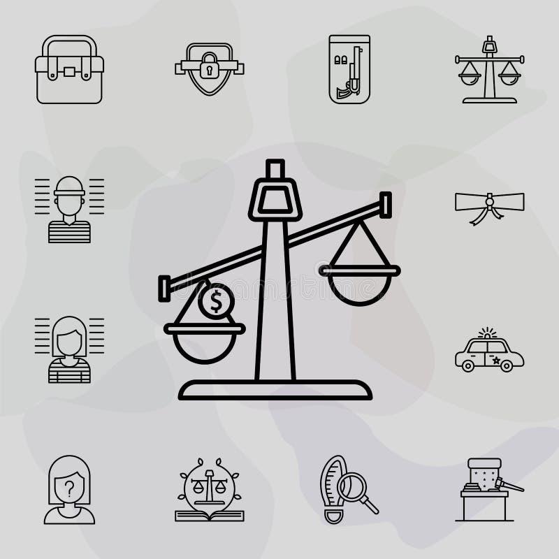 Saldo, moeda, ícone da moeda Conjunto universal de direito e justiça para a concepção e desenvolvimento de sítios Web, desenvolvi ilustração do vetor