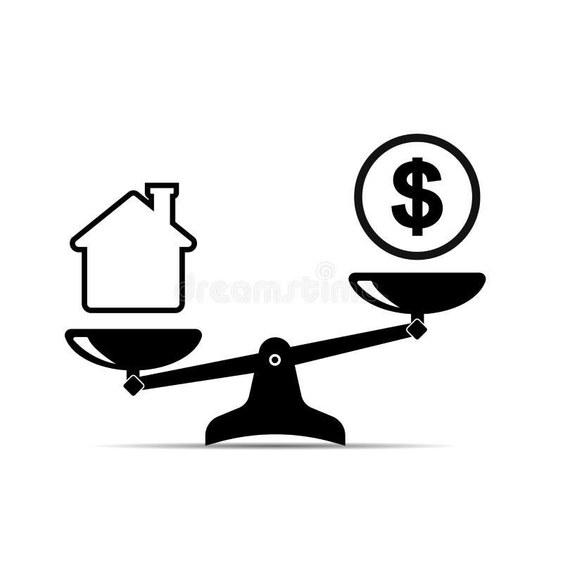 saldogeld en huis pictogram van schalen waar het huis heerst stock illustratie