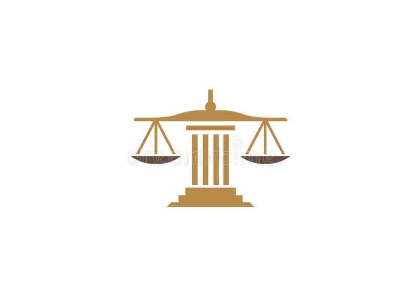 Saldoschalen op een wet de Bouwrechtvaardigheid voor de illustratie van het embleemontwerp vector illustratie