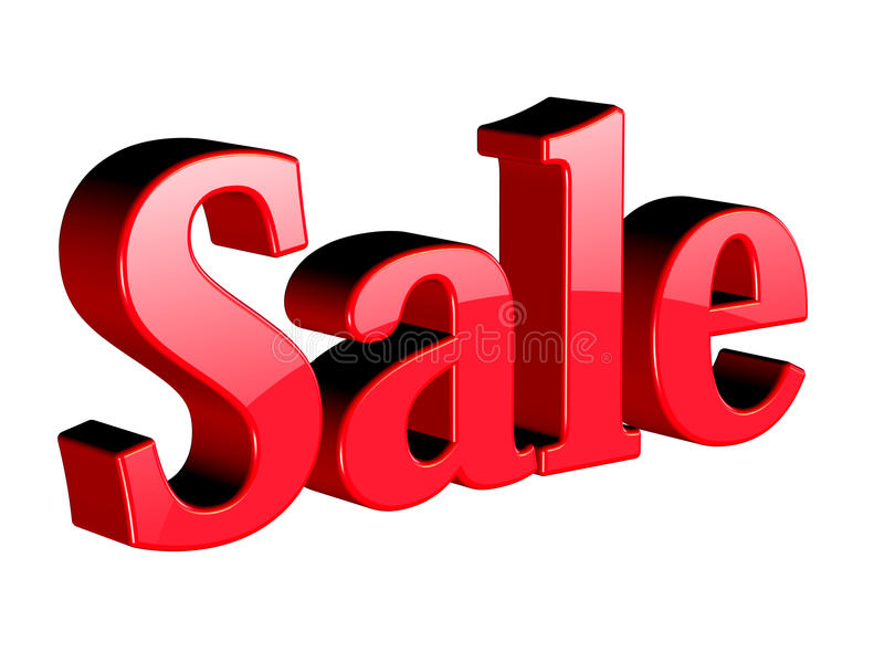 Sale. Three dimension sale text on white vector illustration