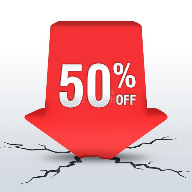 Sale. Conceptual image 3D: 50% off royalty free illustration