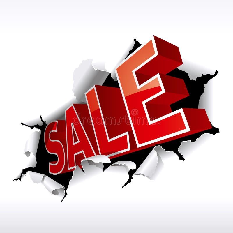 Sale. Inscription break through white background. Vector Illustration
