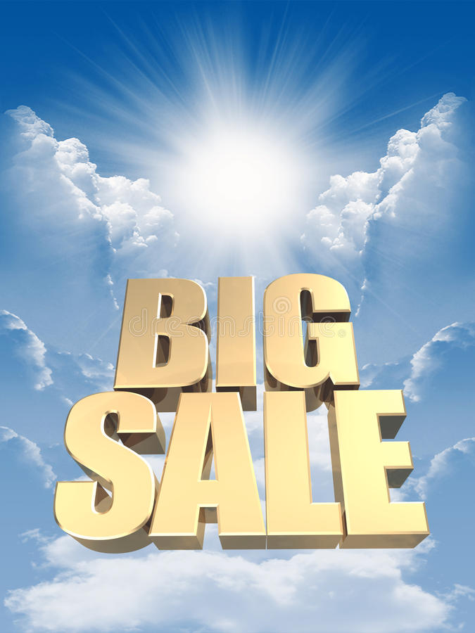 Sale. 3D image of the text of a big sale, made of pure, beautiful gold stock illustration