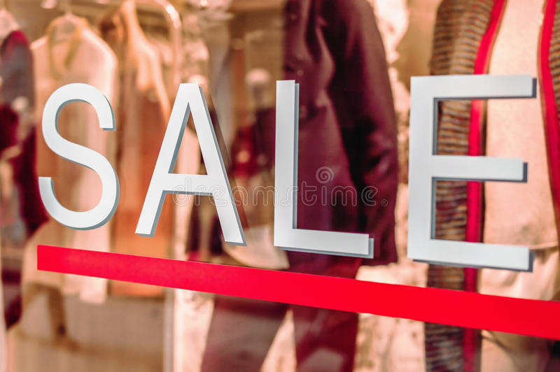 Sale. Shopwindow with white Sale text royalty free stock images