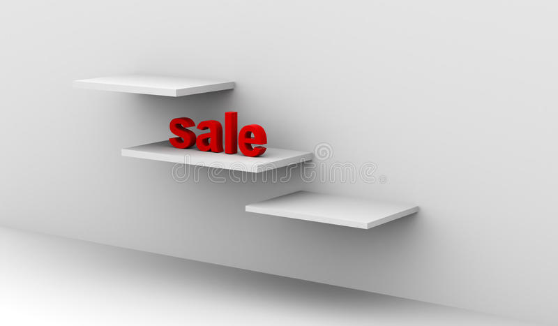 Sale in 3d on shelves in a clean interior royalty free illustration
