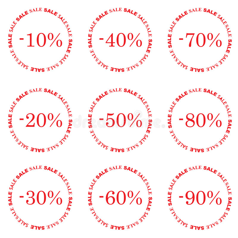 Sale. Red Sale Tag Isolated On White royalty free illustration
