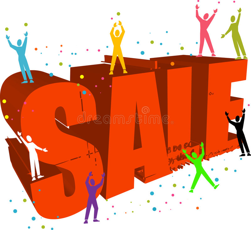 Sale logo with people celebrating royalty free illustration