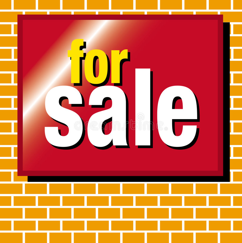 For sale. Bricks with a for sale sign mounted on it vector illustration