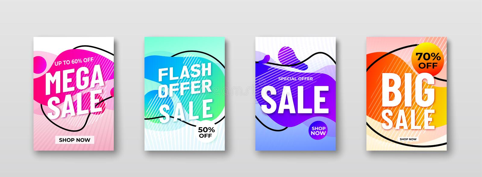 Sale abstract vector backgrounds with liquid gradient shapes, lines, promo text. Motion graphic fluid design for royalty free illustration