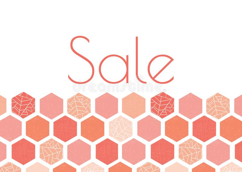 Sale advertisement banner template design with pink, peach, coral hexagon pattern. Grunge screen print style. Modern.  stock illustration
