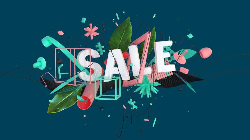 Sale advertizingkort royaltyfri illustrationer