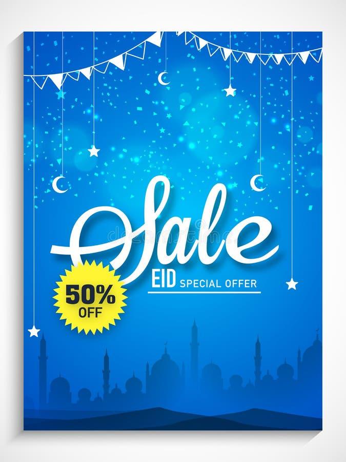 Sale affisch, baner eller reklamblad för Eid beröm stock illustrationer