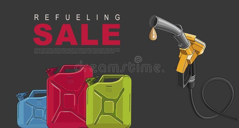 Sale affisch f?r bensinstation med att tanka nozzel- och oljakanistrar vektor illustrationer