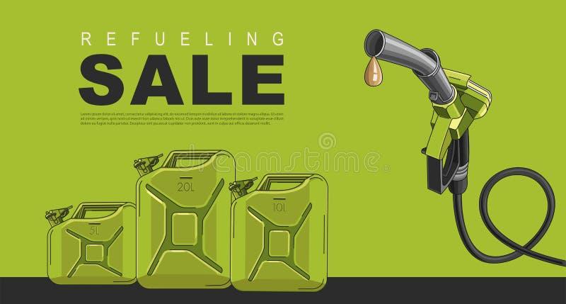 Sale affisch f?r bensinstation med att tanka nozzel- och oljakanistrar, mallorientering royaltyfri illustrationer
