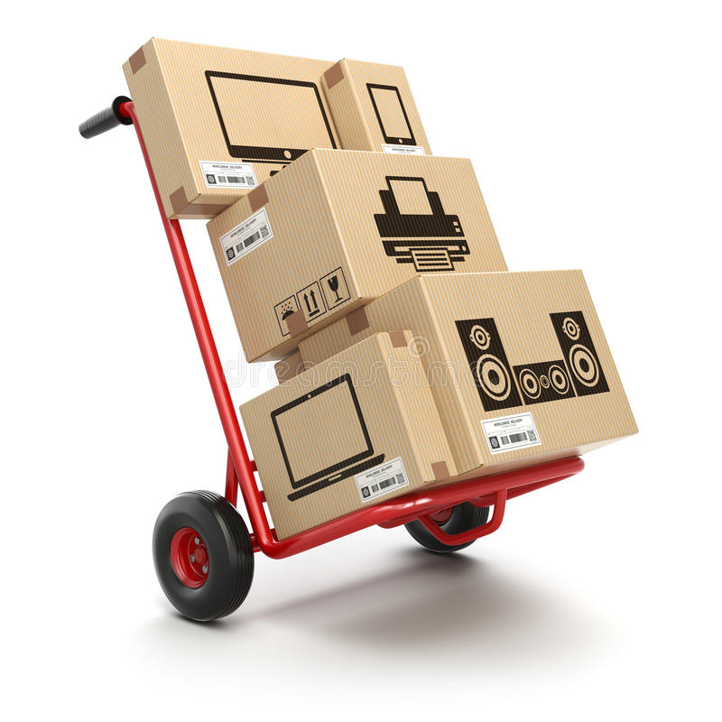 Free Sale And Delivery Of Computer Technics Concept. Hand Truck And C Stock Images - 92766574