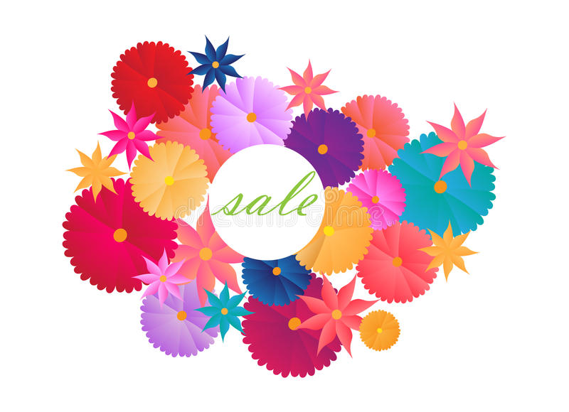 Sale announcement flowers colorful white background stock images