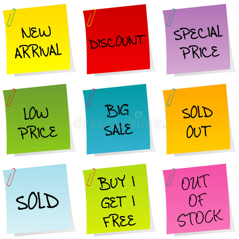 Sale announcements, set of post it royalty free illustration