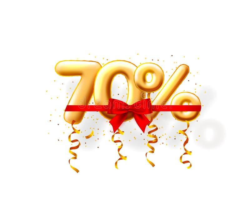 Sale 70 av ballonnummer på den vita bakgrunden vektor illustrationer