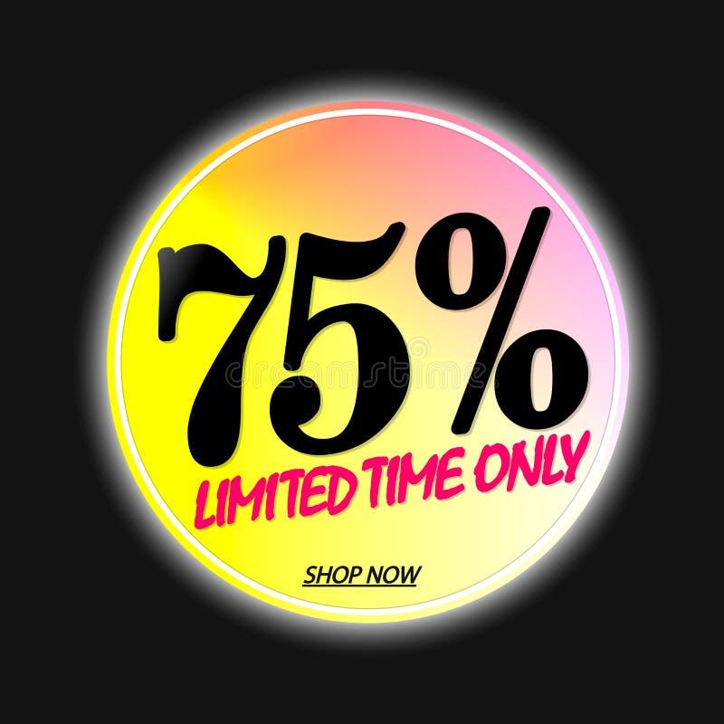 Sale 75% av, banerdesignmall, rabattetikett, appsymbol, vektorillustration stock illustrationer