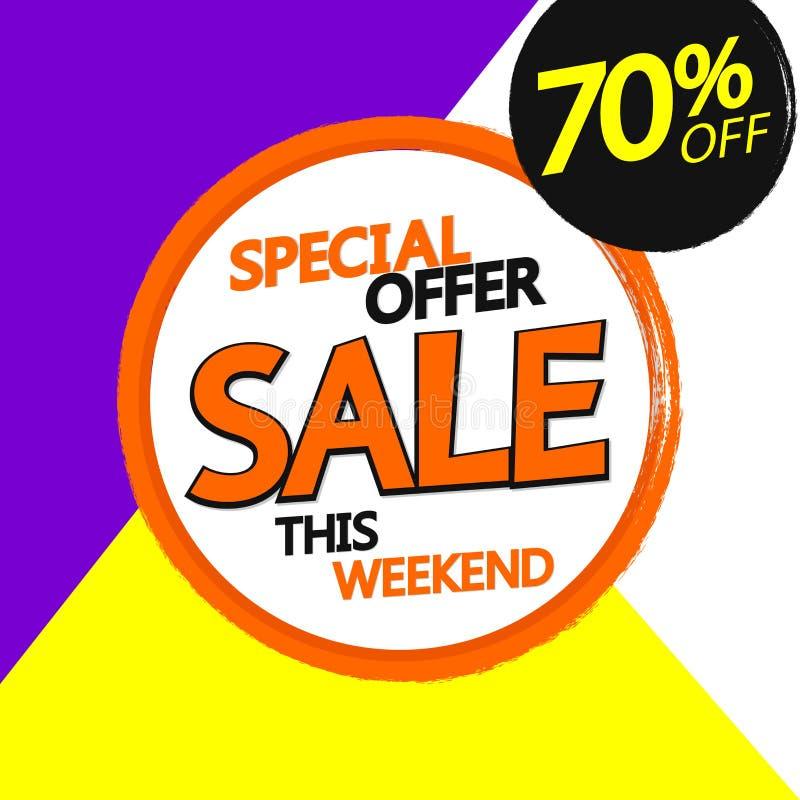 Sale 70% av, banerdesignmall, rabattetikett, grungeborste, specialt erbjudande, vektorillustration vektor illustrationer
