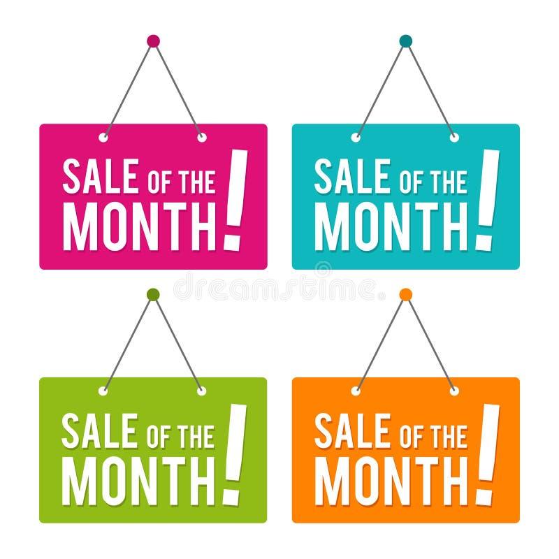 Sale av det hängande dörrtecknet för månad Vektor Eps10 stock illustrationer