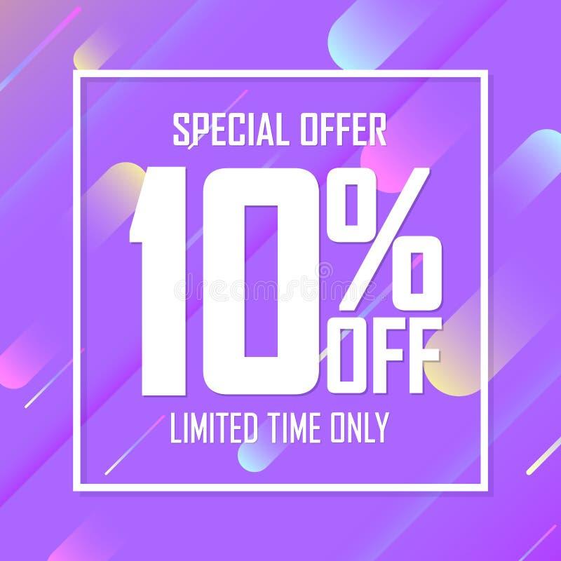 Sale 10% av, specialt erbjudande, affischdesignmall, inskränkt tid, vektorillustration vektor illustrationer