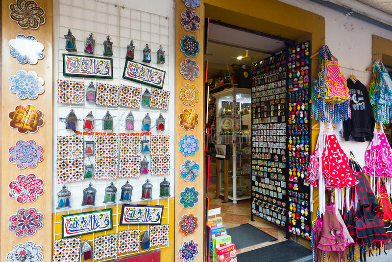 Sale av turist- souvenir i Cordoba arkivbilder