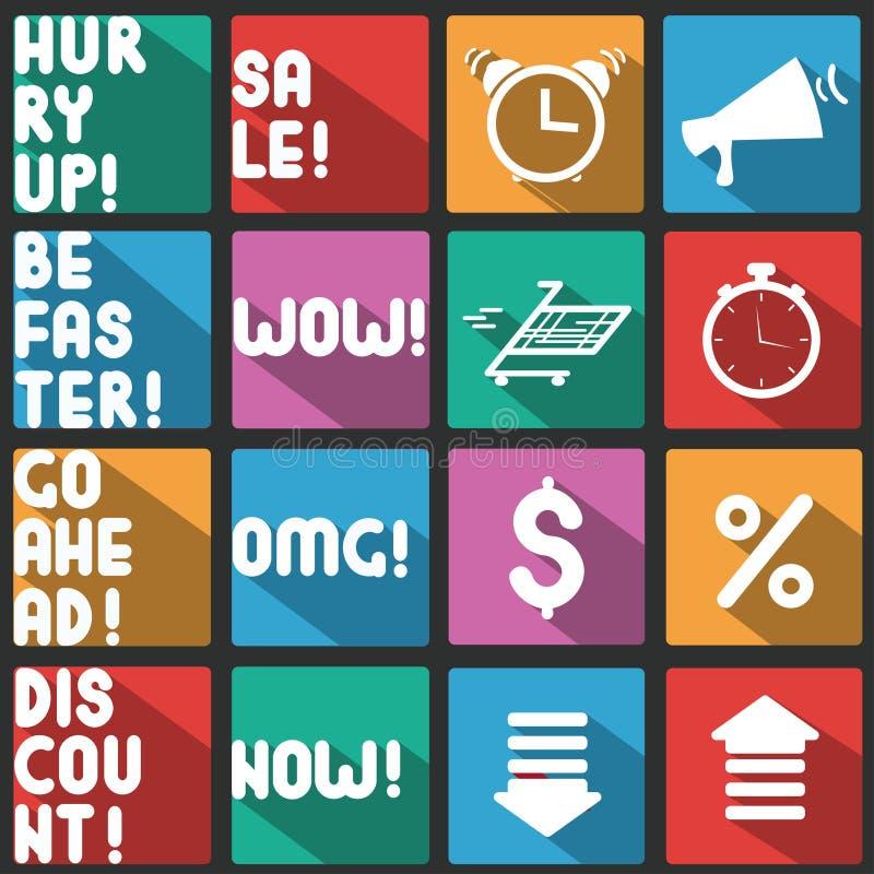 Sale avfärdar symbolsuppsättningen Plana symboler med lång skugga Vektorsymboler och ord royaltyfri illustrationer
