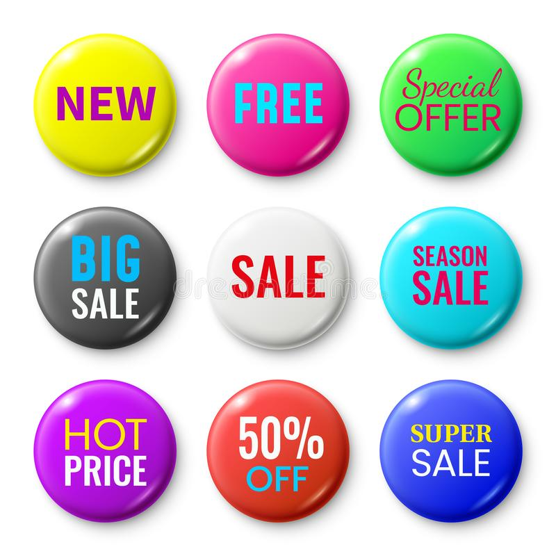 Sale badges buttons. Special offer shop button, red new badge and season sale sticker circle isolated vector set vector illustration