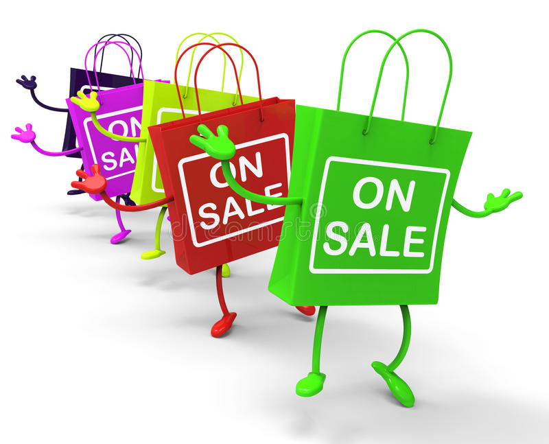 On Sale Bags Show Sales, Deals, and Bargains. On Sale Bags Showing Sales, Deals, and Bargains royalty free illustration