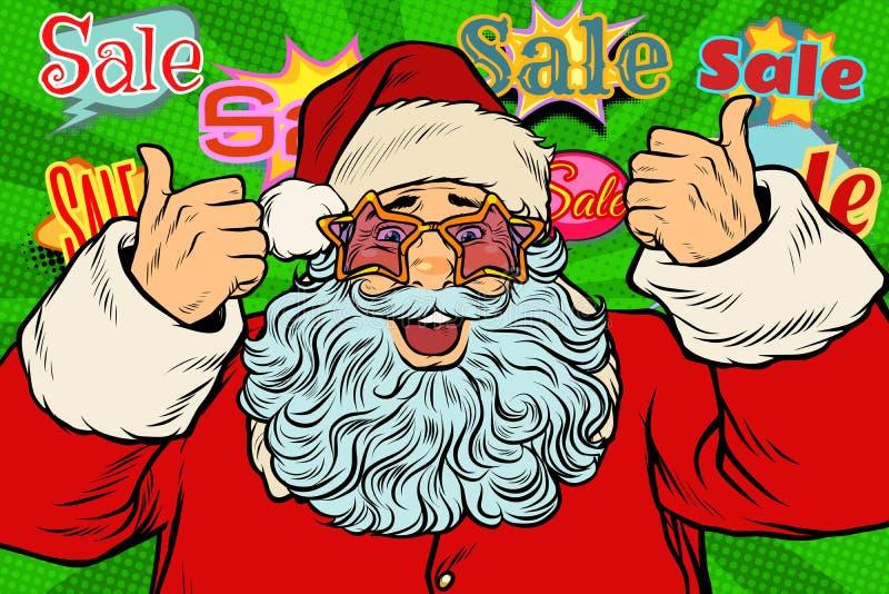 Sale bakgrund Santa Claus i stjärnaexponeringsglasen vektor illustrationer