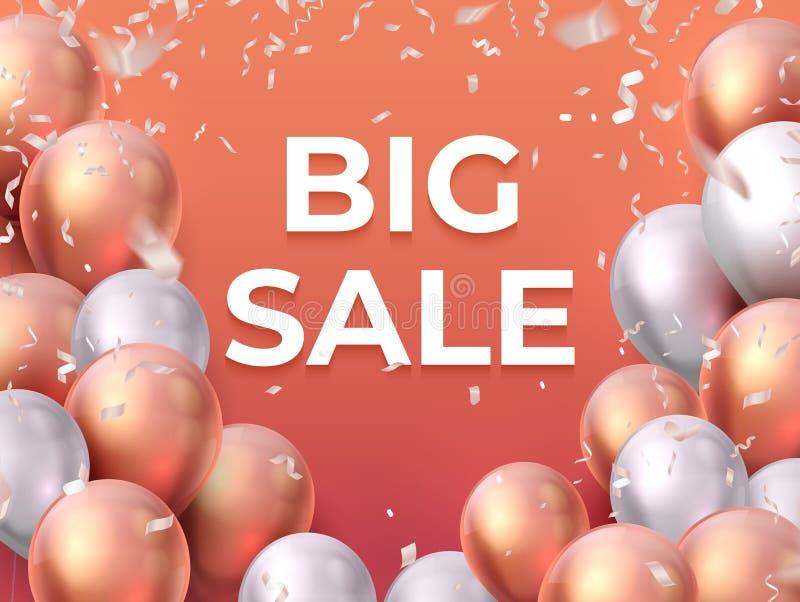 Sale ballongbaner Shoppa erbjudandemodereklambladet, den speciala befordran för partiet som flyger ballongaffischen Realistisk fö royaltyfri illustrationer