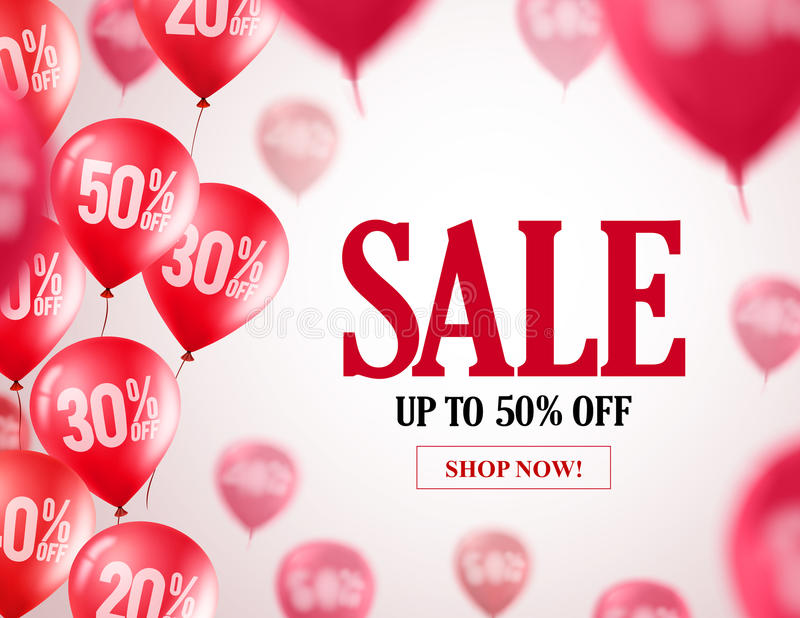 Sale balloons vector banner design. Flying red balloons with 50% off royalty free illustration