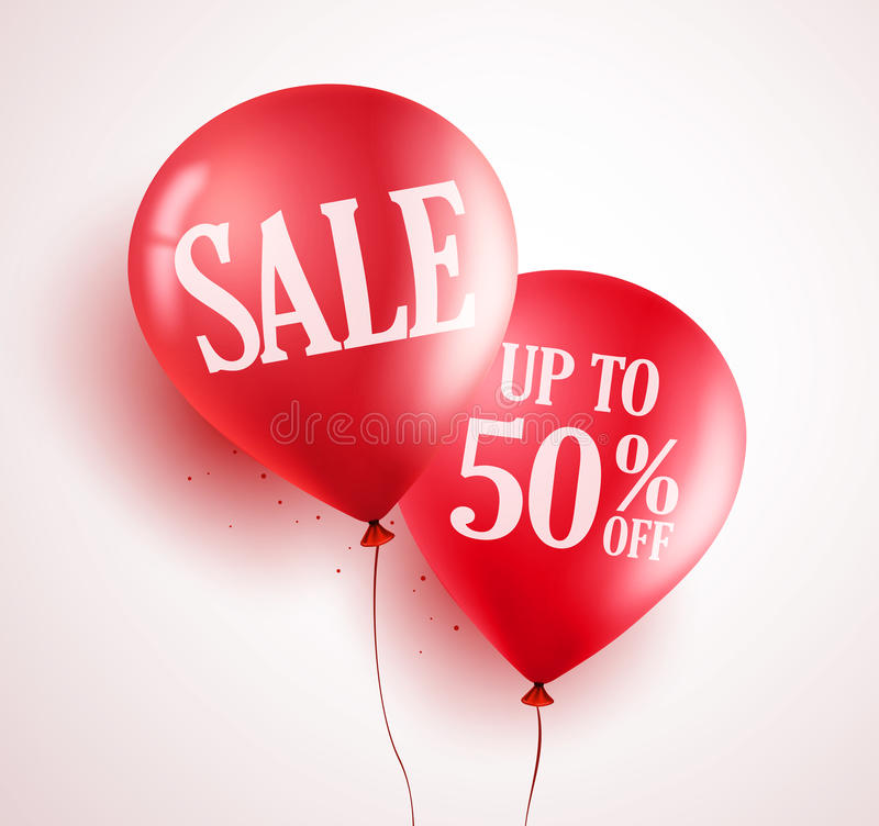 Sale balloons vector design with 50% off red color in white background stock illustration